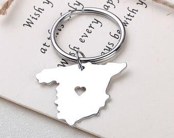 I heart Spain Keychain - Spain Keyring - Map Jewelry - Country Charm - Map keychain