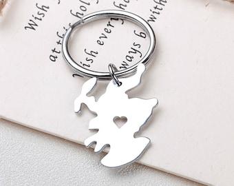I heart England Keychain - England Keyring - Map Jewelry - Country Charm - Map keychain