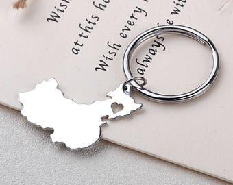 I heart China Keychain - China Keyring - Map Jewelry - Country Charm - Map keychain
