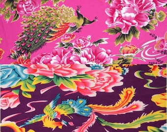 chinese fabric cotton peony Pink Purple 2m