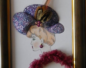 """foam board painting """"Lady with Hat feathers and cherries"""""""
