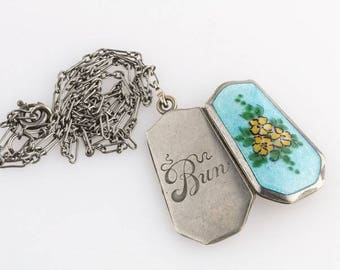 Antique Edwardian silver and guilloche enamel locket and chain. pded083(e)