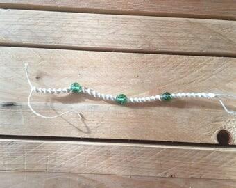 White Hemp Bracelet with Beads