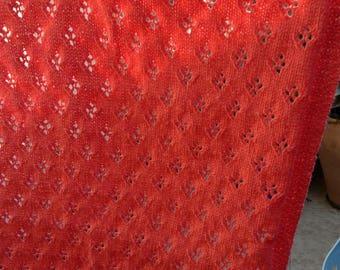 Apricot diamond lace pattern baby blanket