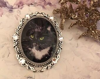 romantic black cat brooch and rhinestones