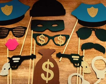 Cops and Robbers Photo Booth; Cops and Robbers Photo Props; handcuffs; Police Photo Booth; Cops and Robbers Party