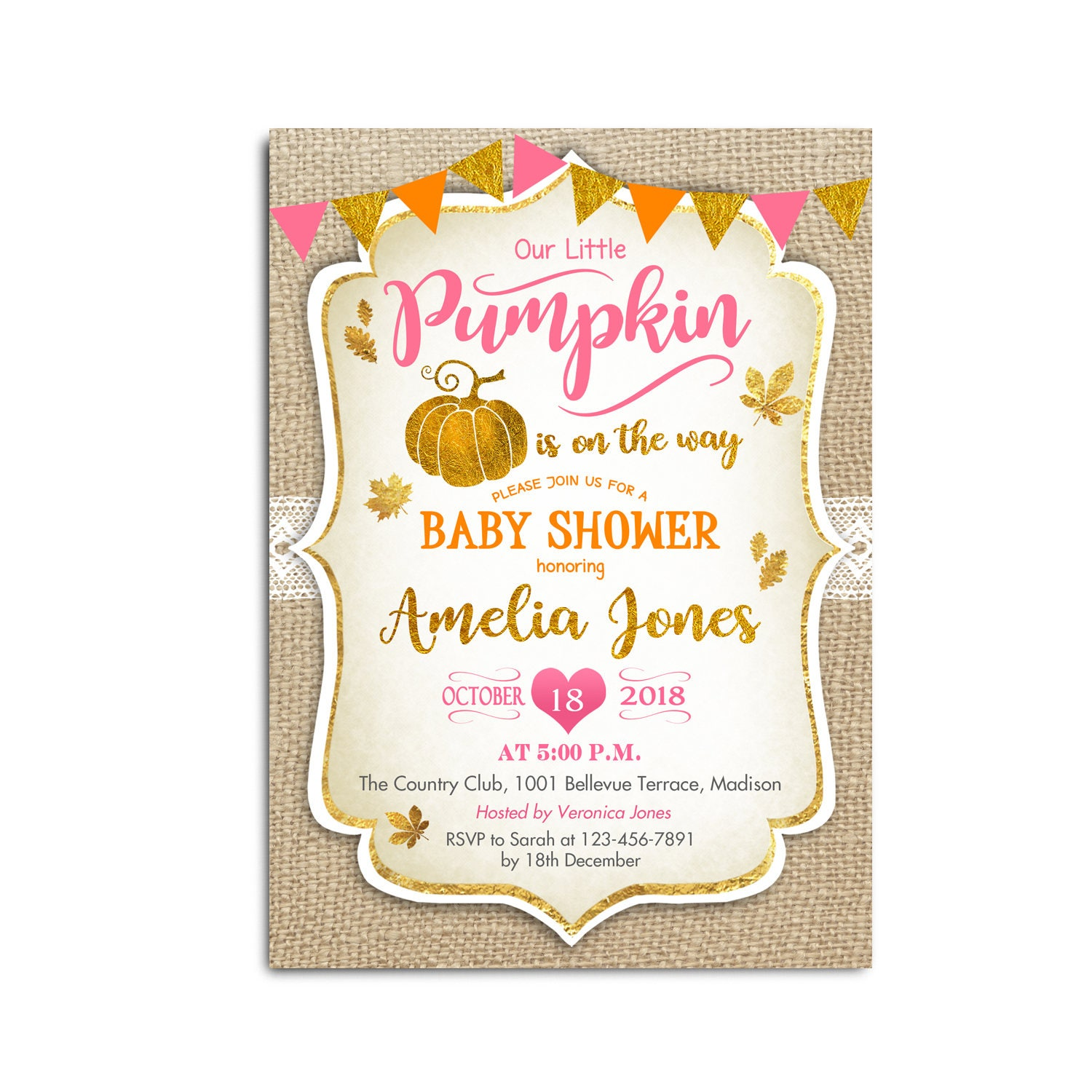 Rustic Fall Baby Shower Invitation Little Pumpkin Girl Glitter Gold Pink Peach
