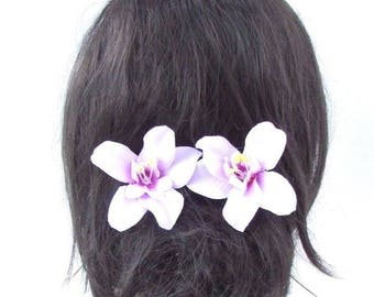 2 x Lilac Light Purple Orchid Flower Hair Pins 1950s Bridesmaid Rockabilly 3492