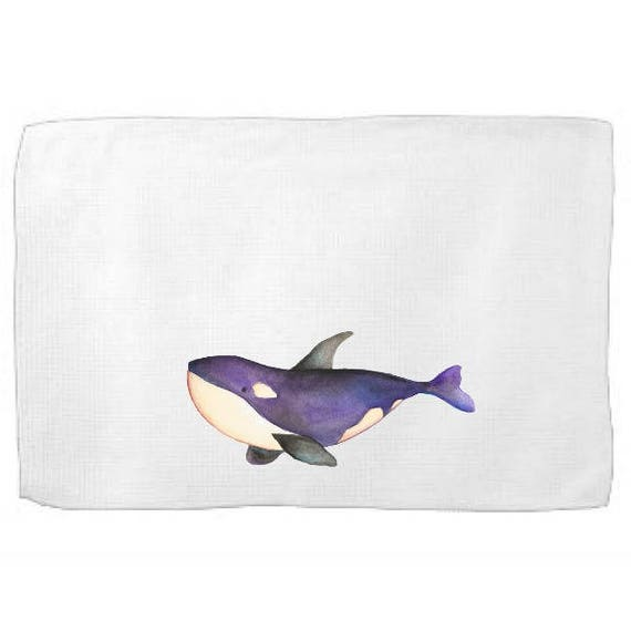Killer Whale Kitchen Towel,Sea Creature Dish Towel,Tea Towel,Flour Sack Towel,Whale Dish Towel,Flour Sack Kitchen Towel,FlourSack Dish Cloth