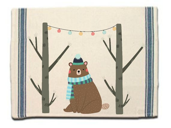 Winter Bear Kitchen Towel|Dish Towel| Tea Towel| Flour Sack Material| Woodland Animals Dish Towel| Flour Sack Kitchen Towel|Dish Cloth