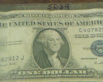1935 G Silver Certificate Blue Seal One Dollar Bill- SD34