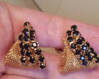 Faux Sapphire gold tone mesh earrings dangle Crystal sapphires clip on Vintage