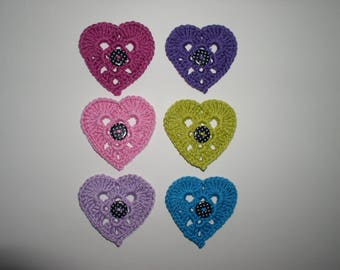 set of six hearts in cotton with decorative button