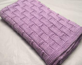 Hand knit purple baby blanket/machine washable hand knitted purple baby blanket/car seat baby blanket/stroller baby blanket/crib blanket