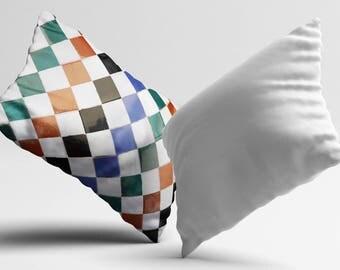 Colorful Tile Pillow Cover Cushion Design PillowCase Modern Throw Pillow Cover Decorative Silk Pillow Satin Pillow Luxury Decor Gift Idea