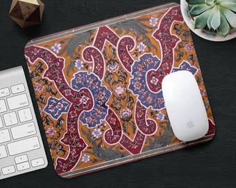 Persian Rug Mouse Pad Yellow Rug Mouse Mat Geometric MousePad Desk Accessories Mouse Pad Art Floral MouseMat Persian Carpet Mouse Pad Office
