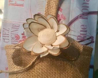 Burlap flower girl basket with woodland sola flower