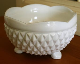 White Milk Glass Candy Dish / Bowl / Vessel with Legs - Measures ~ 5 x 3 inches.