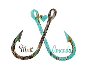 Fish Heart Couples  Teal /  Camo decal