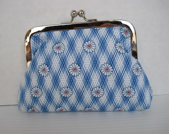 Coin Purse, Small Clutch, Child's Purse, Blue and White, Fabric, Handmade, Metal Frame, Ladies Gift, Women's Accessories