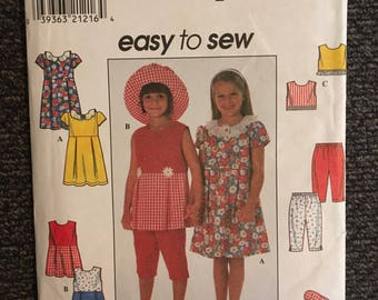 Uncut 1997 Vintage SIMPLICITY Dress Bonnet Capri Sleeveless Top Pattern #7983 - Child Size 5-6-6x