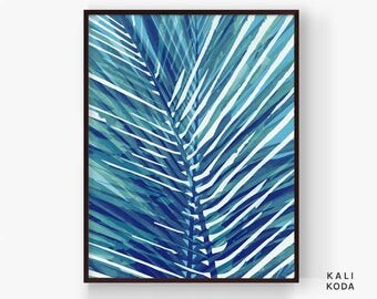 Palm Leaf Print, Watercolor, Botanical, Palm Leaves, Tropical Fronds, Navy Blue, Greenery, Wall Art, Printable Digital Download