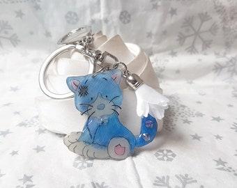 door keys or bag charm blue kitten