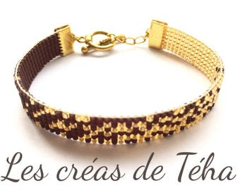 Lovely gold and Brown bracelet woven with miyuki beads