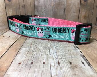 "Udderly Adorable | Designer 1"" Width Dog Collar | CupcakePups Collars | Medium/Large Dog Collar"