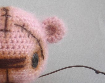 Pink Crochet Teddy Bear, Angora crochet bear