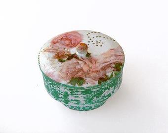Round Shabby chic Decoupage Jewellery Box , Vintage Jewellery Box, Family Memory Box, Wooden Keepsake Box, Rustic Memory box