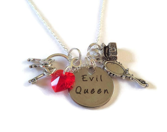 Once Upon a Time themed silver 20mm tag Evil Queen Regina charm necklace fan gift xmas Uk