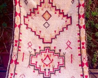 Moroccan Rug Vintage Azilal, Wool Souk Rug 8 Ft x 4 Ft Moroccan Rug, Berber Tribal Rug Carpet