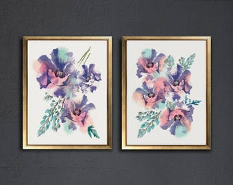 Set of 2 Poppy Flower Botanical Art Posters, print, wall decor 8.5 x 11 in, 9 x 12 in, 12 x 16 in