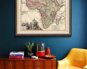 Vintage Africa Map 1740, Wall Map of Africa, Old Map - CP180
