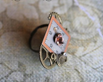 """Woman vintage square dial """"Dreaming time"""" steampunk ring"""