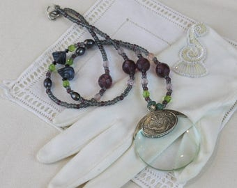 SUMMER SALE Long Glass Bead Necklace with Magnifier