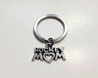 """Hockey Mom Keychain, Hockey Keychain, The """"Hockey Mom"""" Keychain, Hockey Mom Charm Keychain, Hockey Keychain, Hockey Gifts, Mom Keychain"""