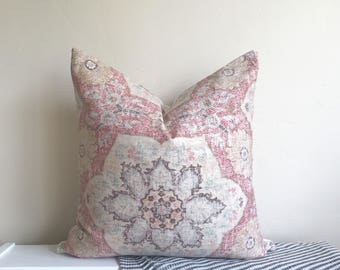 Muted Pink & Red Medallion Pillow Cover 18x18