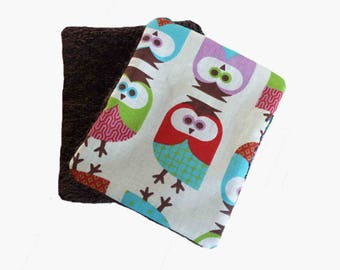 Set of 10 wipes owls pattern cotton and sponge