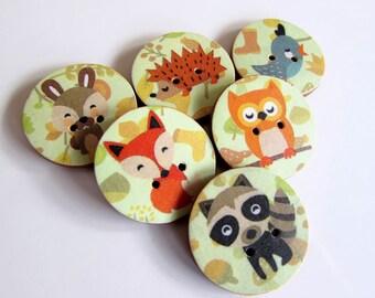 Autumn Animal Buttons - Fox - Bird - Owl - Hedgehog - Rabbit - Raccoon - Handmade Buttons - Buttons for Kids - Knitters - Fun Buttons