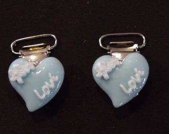 Pacifier clips heart shaped