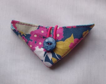Folding needle book, needle holder, recycled fabric needle book, needle case, blue and pink floral fabric