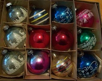 Twelve Shiny Brite Christmas Ornaments
