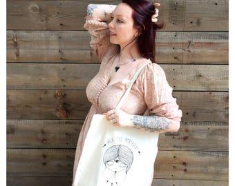 Organic cotton tote bag, market bag, tote, hex the patriarchy, printed tote bag, eco friendly bag