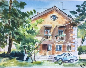Original watercolor painting, house painting, watercolor house, old house painting, fine art, city landscape, gift