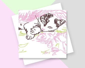 White cat greetings card