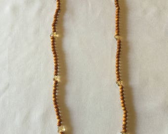 amber wood butterfly elastic necklace/bracelet