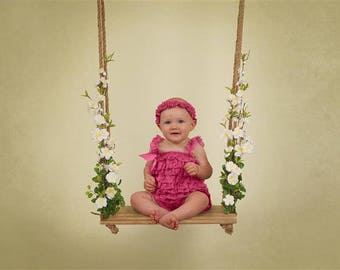 Digital Sitter Backdrop Wooden Floral Swing. One of a kind prop!