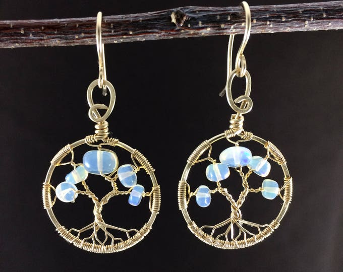Opal Earrings For Women|Tree of Life|Fire Opal|14th anniversary|34th anniversary|Bridal Gift|Personalized Gift For Her|October Birthstone